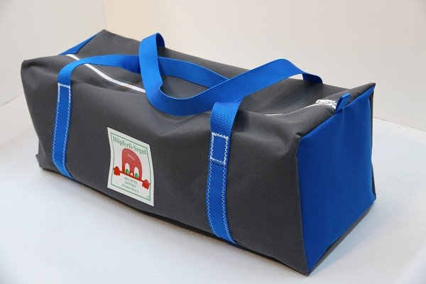 Reisetasche anthrazit leuchtblau 75-27-27