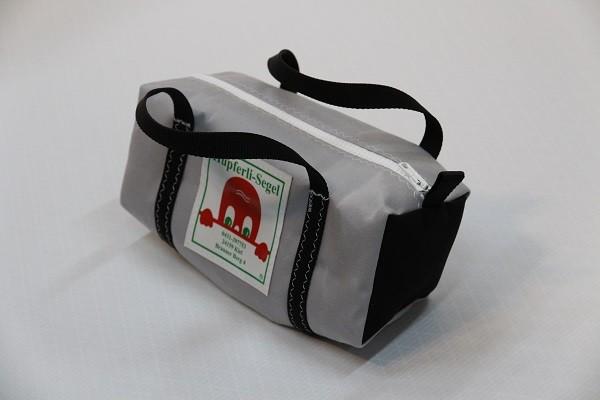 Kulturtasche mit Henkeln hellgrau schwarz 30-12-12