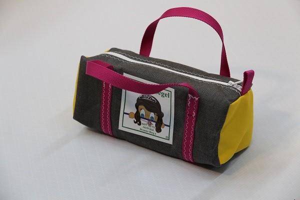 Kulturtasche mit Henkeln tweedgrau gelb pink 30-12-12