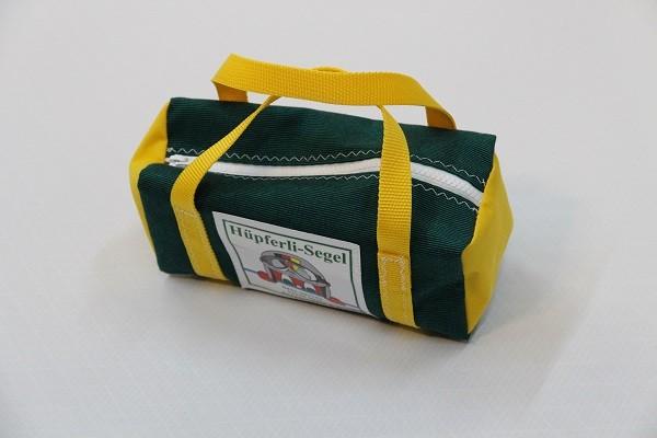 kleine Kulturtasche tweedgrün gelb 25-10-10