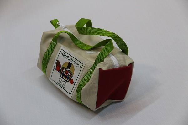 Kulturtasche mit Henkeln beige meliert dunkelrot giftgrün 30-12-12
