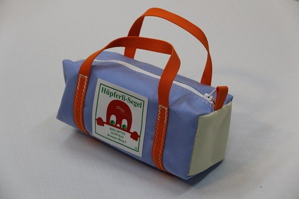 Kulturtasche mit Henkeln saphirblau beige orange 30-12-12