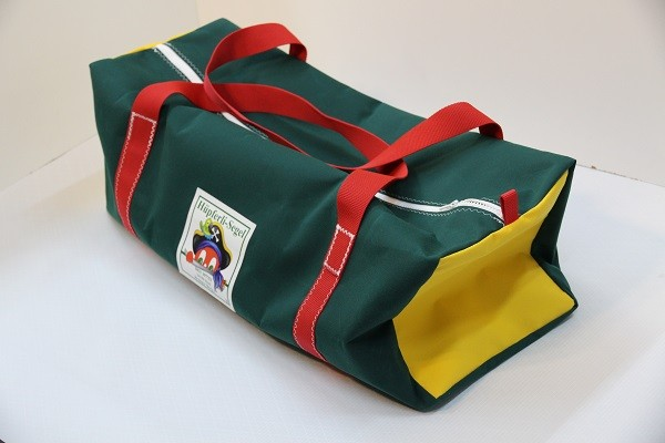 Reisetasche dunkelgrün gelb rot 75-27-27