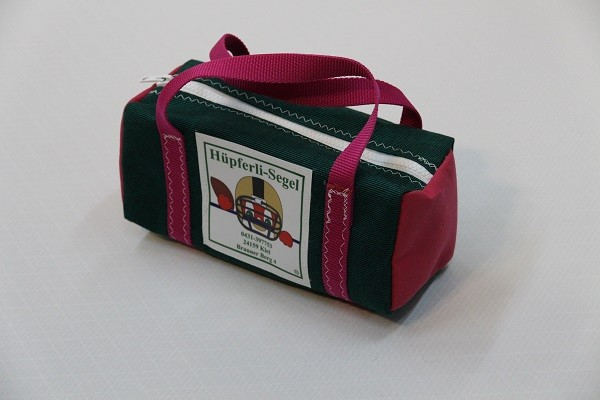 kleine Kulturtasche tweedgrün pink 25-10-10