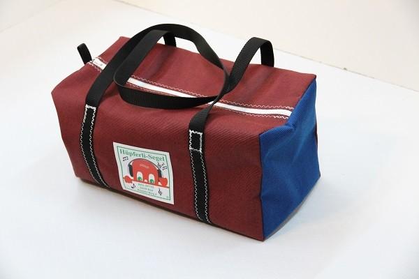 kleine Sporttasche tweedrot tweedblau schwarz 40-22-22