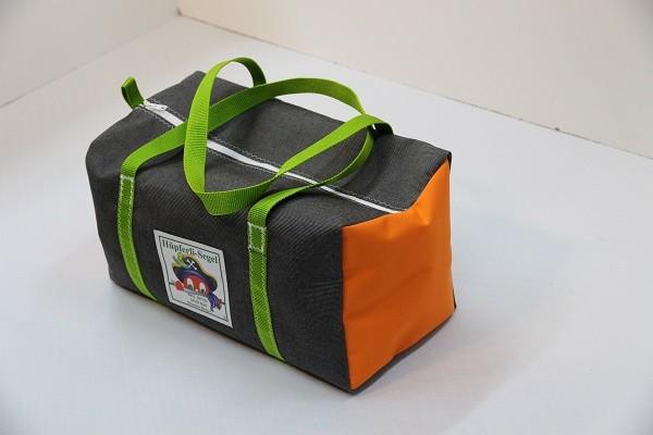 kleine Sporttasche tweedgrau orange giftgrün 40-22-22