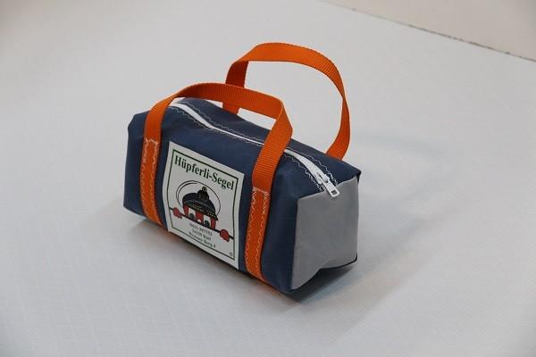 kleine Kulturtasche stahlblau hellgrau orange 25-10-10
