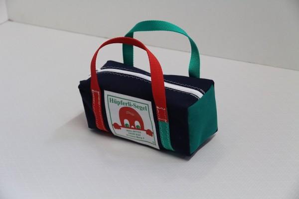 kleine Kulturtasche marineblau rot-grün 25-10-10